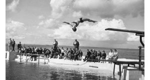 The Irish Swimming and Diving Championships taking place at Blackrock baths, south Co Dublin, in 1958. photograph: irish photo archive