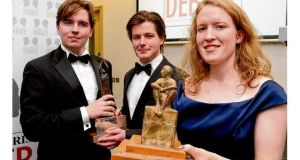 Debate winners Kate Brady with Liam Brophy and John Engle (centre). photographs: charles mcquillan/pacemaker.