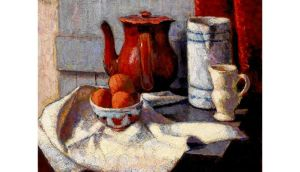 Still life: above left, Nature Morte by Roderic O'Conor (€30,000-€40,000); top, English Peasant Chopping Swedes by Aloysius O'Kelly (€6,000-€8,000); above, detail of Friend or Foe? by Charles Burton Barber (€25,000-€35,000), all at Whyte's Irish British Art auction