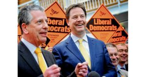 Lib Dem leader Nick Clegg congratulates party candidate Michael Thornton on winning the Eastleigh byelection yesterday. photograph: stefan rousseau