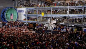 President Obama speaks during a visit to Newport News Shipbuilding. photograph: alex wong/getty images
