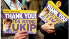 Ukip supporters in Eastleigh yesterday after party candidate Diane James came second in the town's byelection