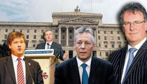 Split: Basil McCrea (left) and John McCallister walked out of the UUP after Mike Nesbitt (right) agreed with the DUP leader Peter Robinson (second right) to stand a candidate in next week's Westminster byelection. montage: itpm