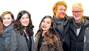 Will Armstrong, Carmel Mannion, Nicole Flattery, Clara Kumagai, Glen Hansard, John Harte and Yvonne Keating at the opening night of Once at the Gaiety Theatre on Tuesday. photographs: aidan crawley