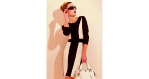 Monochrome jersey dress, €59.95, by Zapara; handbag, €95.95,