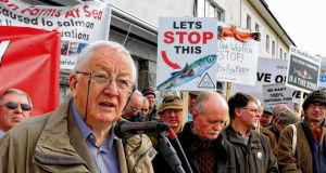 Niall Green of Salmon Watch Ireland at the protest against the proposed salmon farm off Inis Oírr, Galway Bay. photograph: joe o'shaughnessy