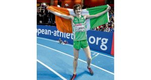Ciarán Ó Lionáird celebrates after taking bronze in the men's 3,000m at the European Indoor Championships, in Gothenburg, yesterday