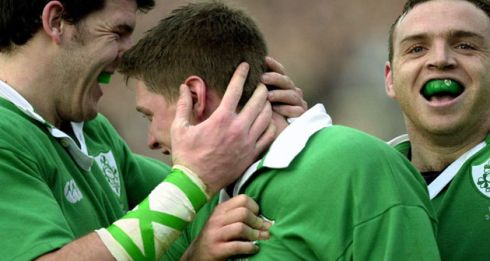 Three try-scorers Shane Horgan, Ronan O'Gara and Rob Henderson celebrate O'Gara's try in the Six Nations match in Rome in February 2001. Photograph: Eric Luke/The Irish Times