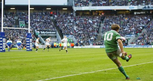 O'Gara kicks a penalty during the RBS Six Nations match between England and Ireland at Twickenham on March 6th, 2004 in London. Photograph: Jamie McDonald/Getty Images