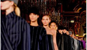 Models on the runway during the Stella McCartney show as part of Paris Fashion Week yesterday. photograph: pascal le segretain/getty images