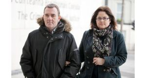 John and Nicola Hall arriving to court today. Photograph: Collins Courts