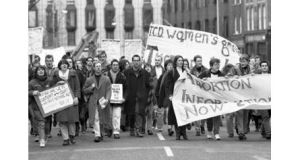 Students protest the High Court decision 21 years ago to bar a 14-year-old, known as X, from travelling to Britain for an abortion.  Photograph: The Irish Times