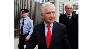 Former Anglo Irish Bank chairman and chief executive Sean FitzPatrick leaves court in December after being charged with deceiving the failed bank?s auditors in relation to his personal loans. Photograph: Julien Behal/PA Wire.