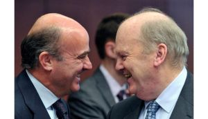Spain's Finance Minister Luis de Guindos (left) and Minister for Finance Michael Noonan attend a euro zone finance ministers meeting at the European Union Council in Brussels. Photograph: Eric Vidal/Reuters