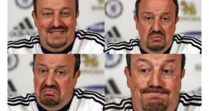 Composite photo of Chelsea manager Rafael Benitez during his press conference at Stoke d'Abernon. Photograph: Lewis Whyld/PA Wire