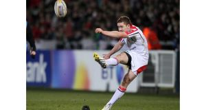 Ireland and Ulster outhalf Paddy Jackson kicked seven of nine attempts at goal against Benetton Treviso but a last minute try from the Italian side saw them leave Ravenhill with a draw. Photograph: Darren Kidd/Inpho/Presseye