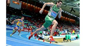 Brian Gregan on his way to winning his heat of the men's 400 metres at the European Indoor Championships in Gothenburg. Photograph: Morgan Treacy/Inpho