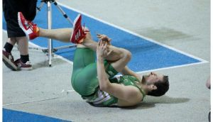 Brian Gregan after tripping in the semi-finals of the Men's 400m at the European Indoors in Gothenburg. Photograph: Morgan Treacy/Inpho