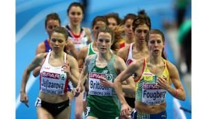 Fionnuala Britton of Ireland, Polina Jelizarova of Latvia and Charlotta Fougberg of Sweden compete in the Women's 3000m heats on day two of the European Athletics Indoor Championships in Gothenburg, Sweden. Photograph: Michael Steele/Getty Images