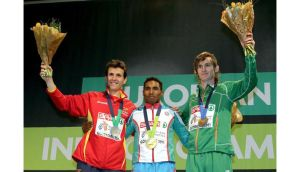 Ciaran O'Lionaird (right) with his bronze medal for finishing third in the Men's 3000m final, alongside first placed Hayle Ibrahimov of Azerbijan and silver medalist Juan Carlos Higuero from Spain. Photograph: Morgan Treacy/Inpho
