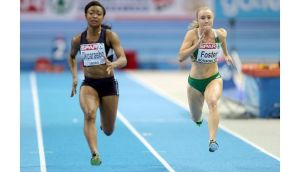 Amy Foster (right) qualified for Sunday's 60m semi-finals with a fifth place finish in her heat in Gothenburg. Photograph: Morgan Treacy/Inpho