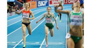 Ireland's Fionnuala Britton shows the strain as she claims the bronze medal in the 3,000 metres final at the European Indoor Championships in Gothenburg. Photograph: Phil Noble/Reuters