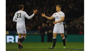 Toby Flood (left) of England replaces Owen Farrell during the Six Nations win over France at Twickenham on February 23rd, 2013. Photograph: Shaun Botterill/Getty Images