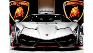A Lamborghini Venenos on display at the Geneva Motor Show. Photograph: Valentin Flauraud/Bloomberg