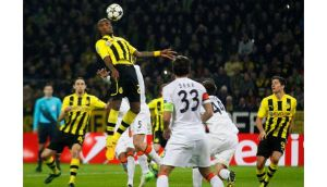 Borussia Dortmund's Felipe Santana heads home his side's opening goal against Shakhtar Donetsk during their Champions League match in Dortmund. Photograph: Wolfgang Rattay/Reuters