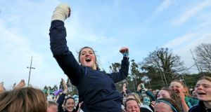 High emotions as Vicki Walsh who was ruled out of the final after an accident celebrates a famous win.