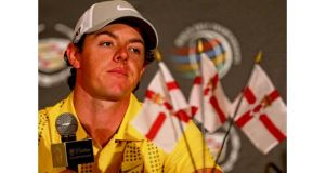 Rory McIlroy addresses the media ahead of the WGC-Cadilac Championship in Florida. Photograph: Warren Little/Getty Images