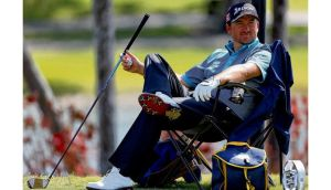 Graeme McDowell relaxes during yesterday's practice round for the WGC-Cadillac at Doral. Photograph: Getty Images