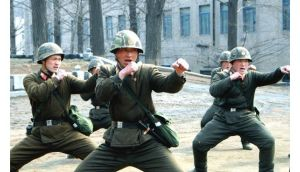 North Korean soldiers attend a military training in this picture released by the North Korea's official KCNA news agency in Pyongyang.