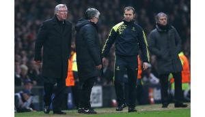 Manchester United manager Alex Ferguson reacts after Nani was sent off during the Champions League match against Real Madrid at Old Trafford. Photograph: Jasper Juinen/Getty Images