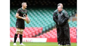 Ireland captain Jamie Heaslip with head coach Declan Kidney and assistant coach Anthony Foley at the Millennium Stadium. Photograph: Dan Sheridan/Inpho