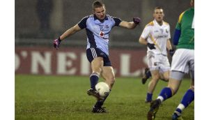 Dublin's Ciarán Kilkenny scores the first goal of the game during the Leinster under-21 football quarter-final at Parnell Park. Photograph: Donall Farmer/Inpho