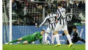 Juventus forward Alessandro Matri scores during the Champions League game against Celtic in Turin. Photograph: Claudio Villa/Getty Images