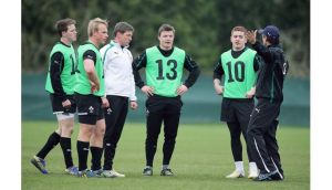Ireland assistant coach Les Kiss talks to players including Paddy Jackson and Brian O'Driscoll during squad training at Carton House. Photograph: Morgan Treacy/Inpho