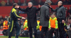Manchester United manager Alex Ferguson rails against Nani's dismissal against Real Madrid. Photograph: PA