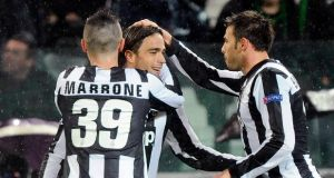 Juventus' Alessandro Matri (C) celebrates with his teammates after scoring against Celtic. Photograph: Giorgio Perottino