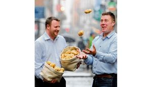 David Morrow (left) and Michael McKillop of Glens of Antrim Potatoes with Irish Lumpers. photograph: dave meehan
