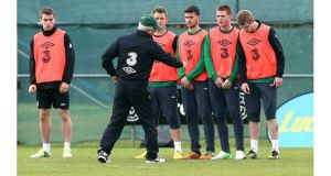 Republic of Ireland manager Giovanni Trapattoni gives instruction during Ireland training. Photograph: Donall Farmer/Inpho