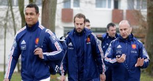 Frédéric Michalak (centre) will start at outhalf against Ireland. Photograph: Jacky Naeglen/Reuters