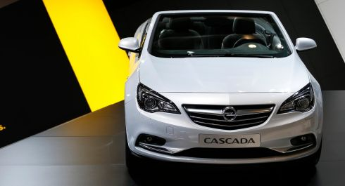 An Opel Cascada convertible on display on the first day of the 83rd Geneva International Motor Show in Geneva, Switzerland, on Tuesday, March 5, 2013.   Photographer: Valentin Flauraud/Bloomberg