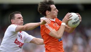 Jamie Clarke (right) will miss the remainder of Armagh's Allianz League campaign. Photograph: Russell Pritchard/Inpho