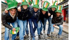 A group of French rugby fans from Perpignan enjoying the fun in Temple Bar yesterday. photograph: cyril byrne