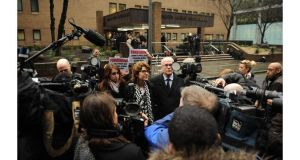 Vicky Pryce, the ex-wife of former MP Chris Huhne, is surrounded by members of the media as she leaves Southwark Crown Court, London, after being found guilty of perverting the course of justice. Photograph: Andrew Matthews/PA