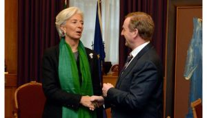 Taoiseach Enda Kenny welcomes International Monetary Fund managing director Christine Lagarde to his office in Dublin this morning at the start of her visit to Ireland. Photograph: David Sleator/The Irish Times