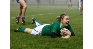 Ireland's Niamh Briggs touches down against France at Ashbourne. Photograph: Dan Sheridan/Inpho