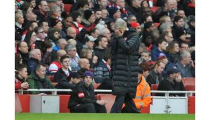 Arsenal manager Arsene Wenger shows his dejection during the FA Cup fifth-round match against Blackburn Rovers at The Emirates Stadium. Photograph: Daniel Hambury/PA
